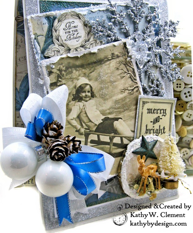 Frosted Memories Vintage Style Christmas Card Folio by Kathy Clement Kaisercraft Frosted for Really Reasonable Ribbon Photo 02