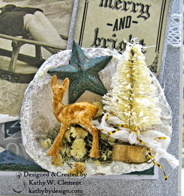 Frosted Memories Vintage Style Christmas Card Folio by Kathy Clement Kaisercraft Frosted for Really Reasonable Ribbon Photo 05
