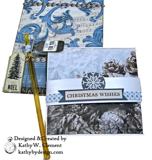 Frosted Memories Vintage Style Christmas Card Folio by Kathy Clement Kaisercraft Frosted for Really Reasonable Ribbon Photo 07