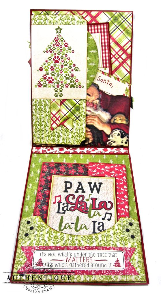 Santa Paws Christmas Card Folio Tutorial Nostalgia by Kathy Clement for Authentique Paper Photo 04