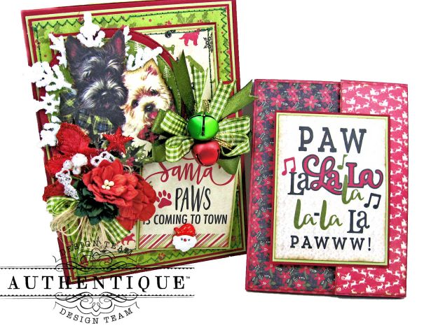 Santa Paws Christmas Card Folio Tutorial Nostalgia by Kathy Clement for Authentique Paper Photo 09
