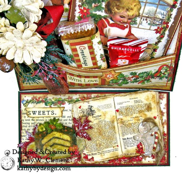 Christmas Kitchen Easel Card Folio by Kathy Clement for The Funkie Junkie Boutique Stamperia Christmas Vintage Photo 03