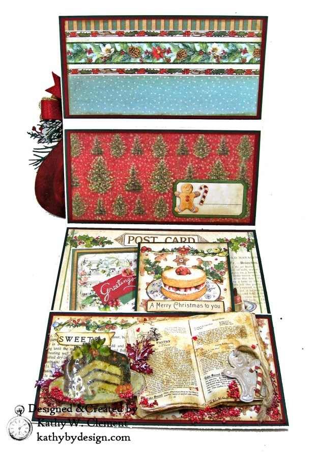 Christmas Kitchen Easel Card Folio by Kathy Clement for The Funkie Junkie Boutique Stamperia Christmas Vintage Photo 08