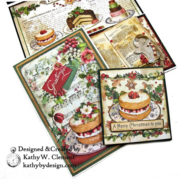 Christmas Kitchen Easel Card Folio by Kathy Clement for The Funkie Junkie Boutique Stamperia Christmas Vintage Photo 09