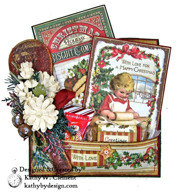 Christmas Kitchen Easel Card Folio by Kathy Clement for The Funkie Junkie Boutique Stamperia Christmas Vintage Photo 11