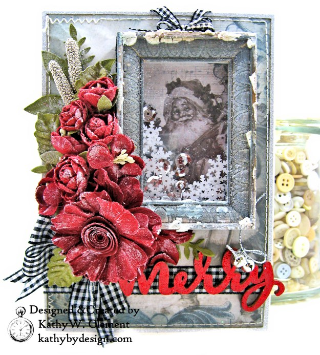 Santa Claus is Watching Shaker card Kaisercraft Frosted by Kathy Clement Photo 02