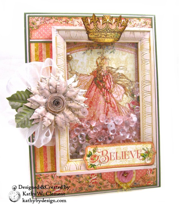 Graphic 45 Princess Believe Shaker Card by kathy Clement Kathy by Design for Buttons Galore and More Photo 01