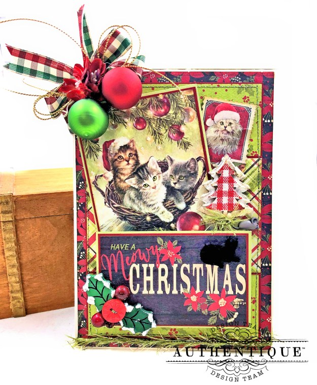 Authentique Nostalgia Meowy Christmas Card Folio by Kathy Clement for Really Reasonable Ribbon Photo 01