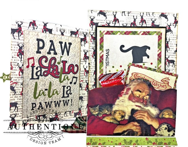 Authentique Nostalgia Meowy Christmas Card Folio by Kathy Clement for Really Reasonable Ribbon Photo 03