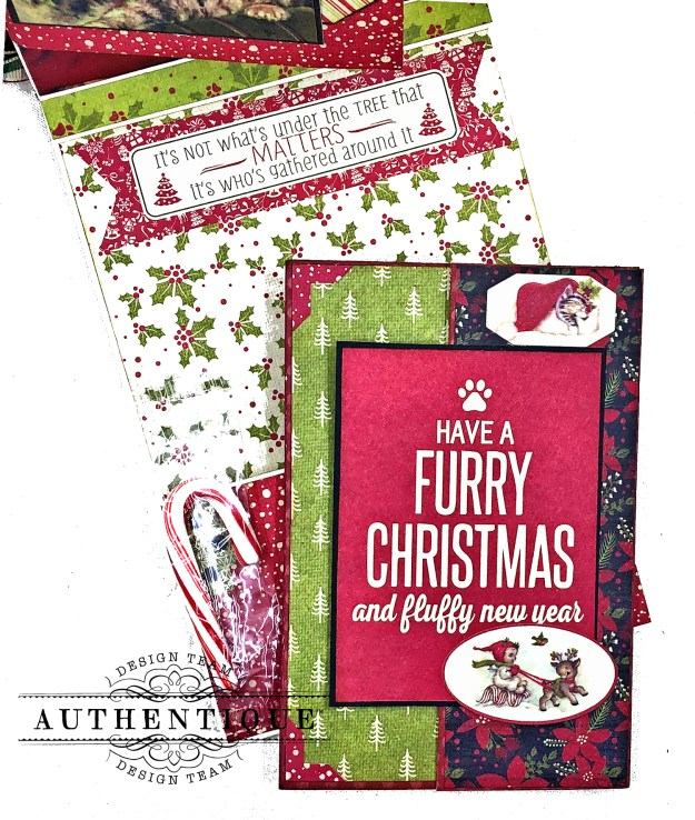 Authentique Nostalgia Meowy Christmas Card Folio by Kathy Clement for Really Reasonable Ribbon Photo 06