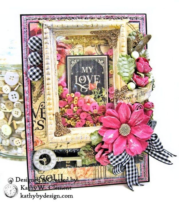 Graphic 45 Love Notes Shaker Card by Kathy Clement For Creativation 2019 Photo 01