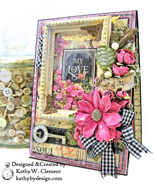 Graphic 45 Love Notes Shaker Card by Kathy Clement For Creativation 2019 Photo 02