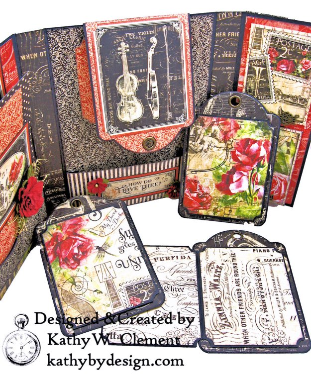 Graphic 45 Love Notes Trifold Tag and Pocket Folio by Kathy Clement Kathy by Design Photo 09