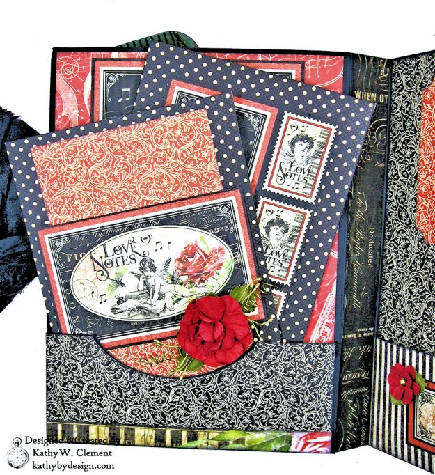 Graphic 45 Love Notes Trifold Tag and Pocket Folio by Kathy Clement Kathy by Design Photo 07