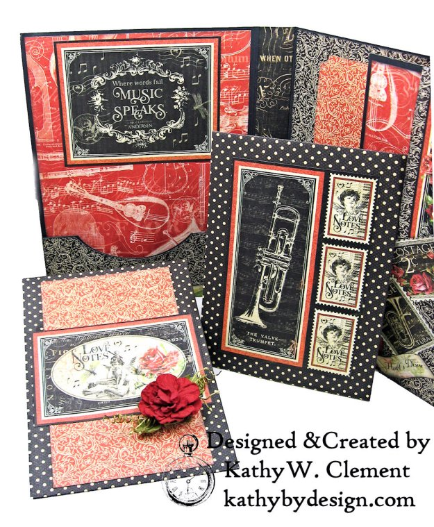 Graphic 45 Love Notes Trifold Tag and Pocket Folio by Kathy Clement Kathy by Design Photo 08
