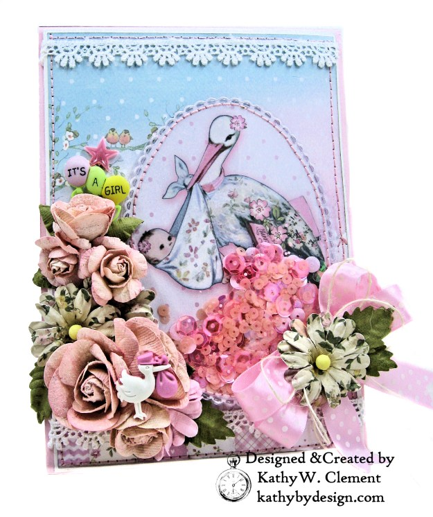 Stamperia Baby Girl Shaker Card by Kathy Clement Kathy by Design for Really Reasonable Ribbon Photo 01