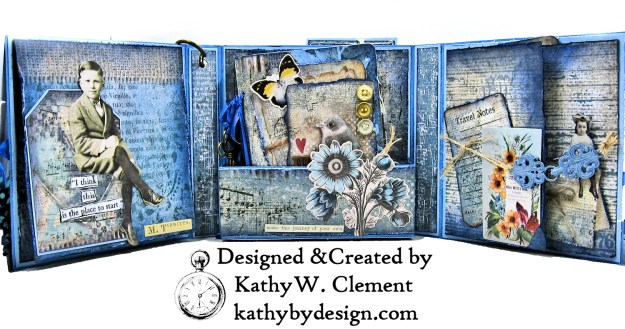 Stamperia Winter Blues Folio Eileen Hull Passport Journal by Kathy Clement for The Funkie Junkie Boutique Photo 06