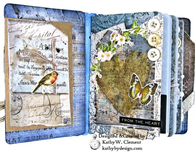Stamperia Winter Blues Folio Eileen Hull Passport Journal by Kathy Clement for The Funkie Junkie Boutique Photo 09