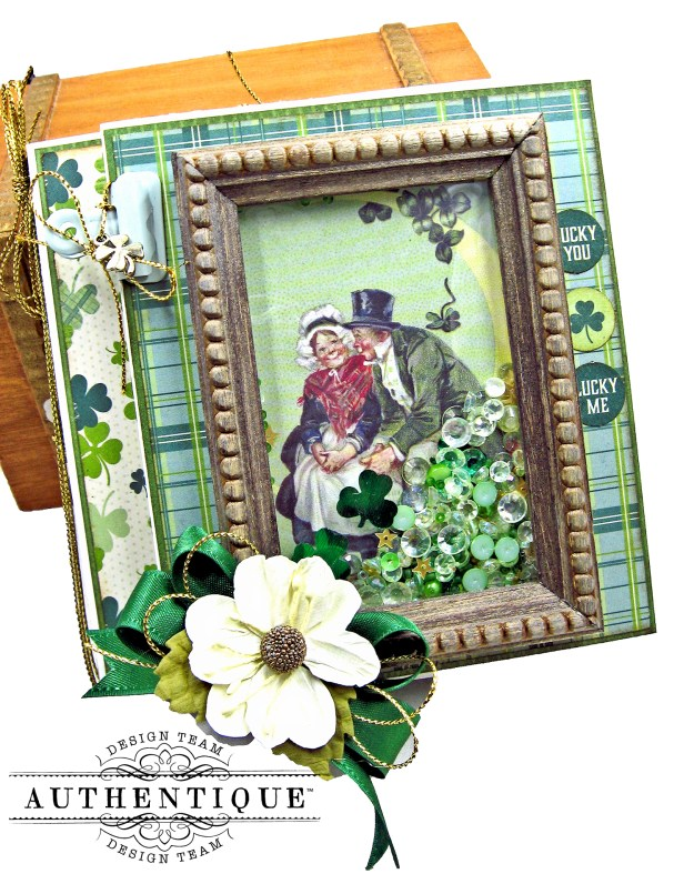 Trifold Shaker Folio Tutorial by Kathy Clement Authentique Paper Clover Collection