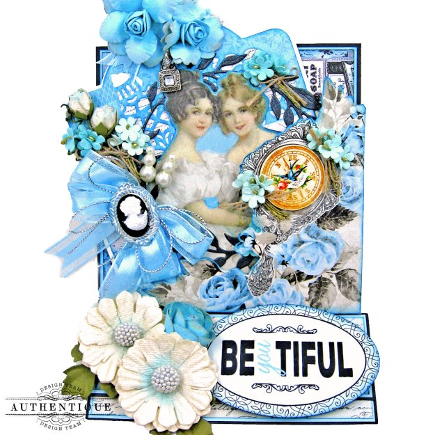 Authentique Glamour Tag & Pocket Easel Card Tutorial Graphic 45 Square Tag Square Tag and Clocks Die Eileen Hull Credit Card Sleeve Tim Holtz Mixed Media 2 Dies Spellbinder Harvest Wreath Die by Kathy Clement Kathy by Design Photo 02