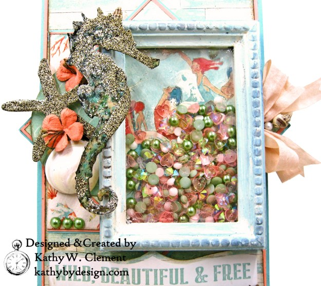 Authentique Sea Maiden Beachy Shaker Thank You Card Tim Holtz Sand and Sea Die Vignette Frame Easel Card by Kathy Clement kathybydesign.com Photo 04