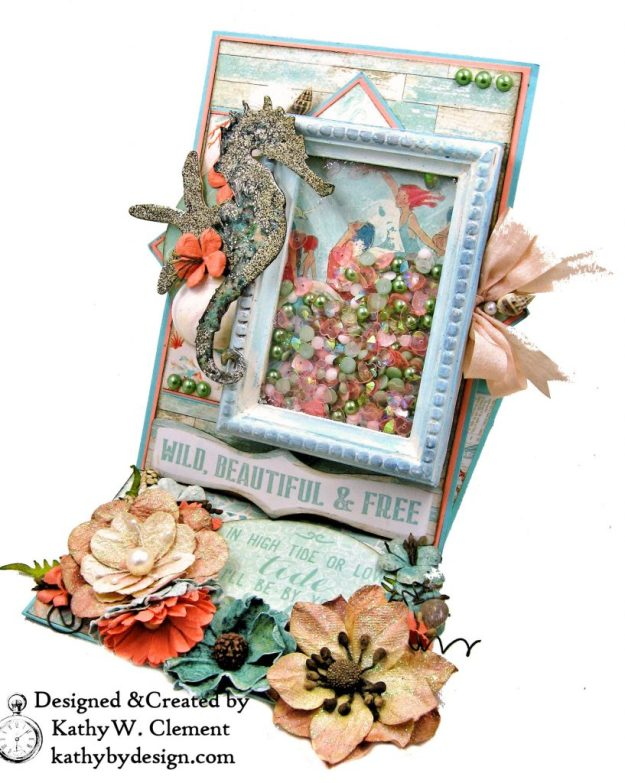Authentique Sea Maiden Beachy Shaker Thank You Card Tim Holtz Sand and Sea Die Vignette Frame Easel Card by Kathy Clement kathybydesign.com Photo 02