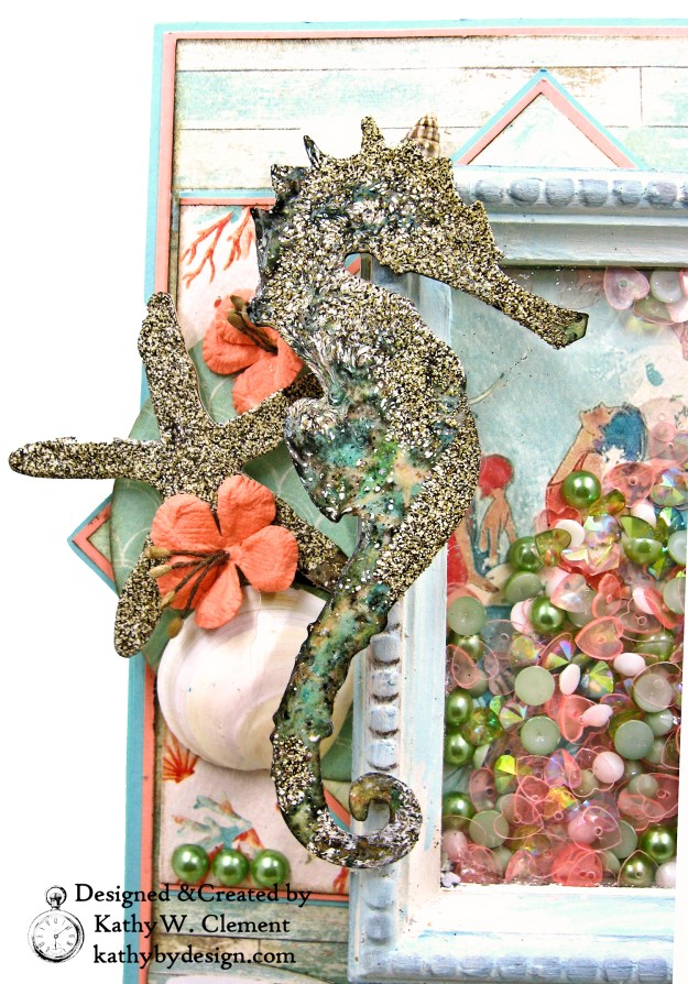Authentique Sea Maiden Beachy Shaker Thank You Card Tim Holtz Sand and Sea Die Vignette Frame Easel Card by Kathy Clement kathybydesign.com Photo 05