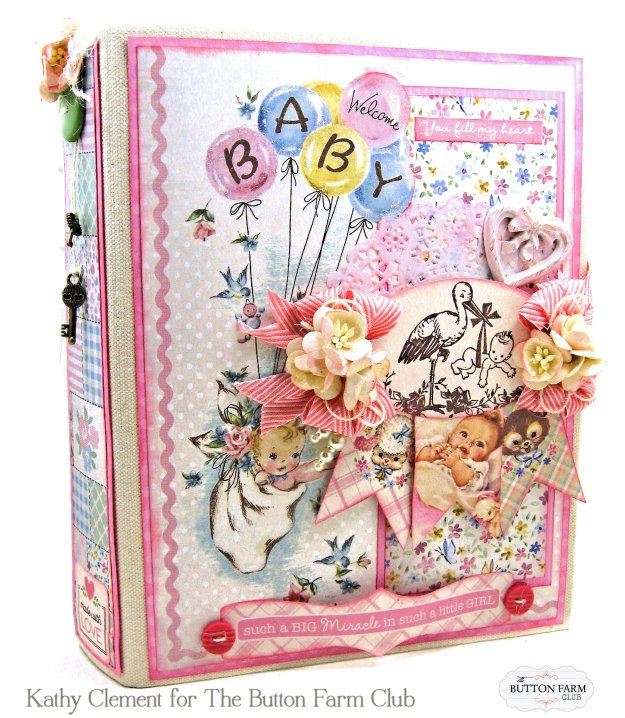 Authentique Swaddle Girl Mini Album Kit by Kathy Clement Kathy by Design for The Button Farm Club Photo 01