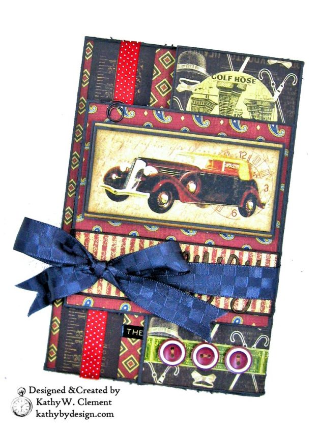 Graphic 45 A Proper Gentleman Retirement Card by Kathy Clement for Really Reasonable Ribbon Photo