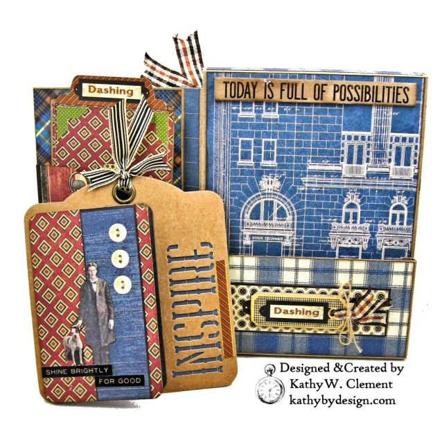 Graphic 45 A Proper Gentleman Card Folio by Kathy Clement for The Funkie Junkie Boutique Photo 07