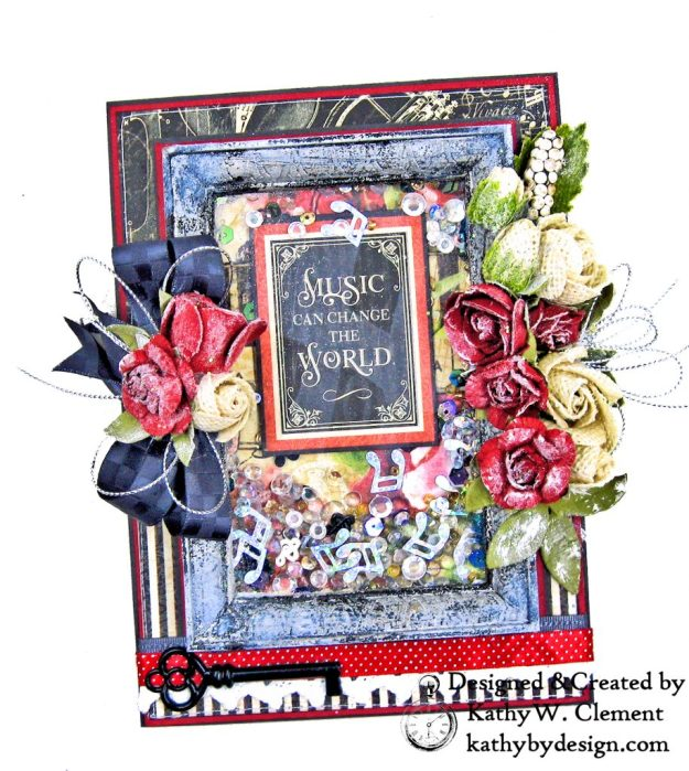 Graphic 45 Love Notes Shaker Card by Kathy Clement for Really Reasonable Ribbon Photo 02