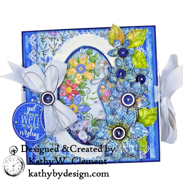 White Taffeta Ribbon from Really Reasonable Ribbon on a Buttons and Blooms Shaker Folio by Kathy Clement