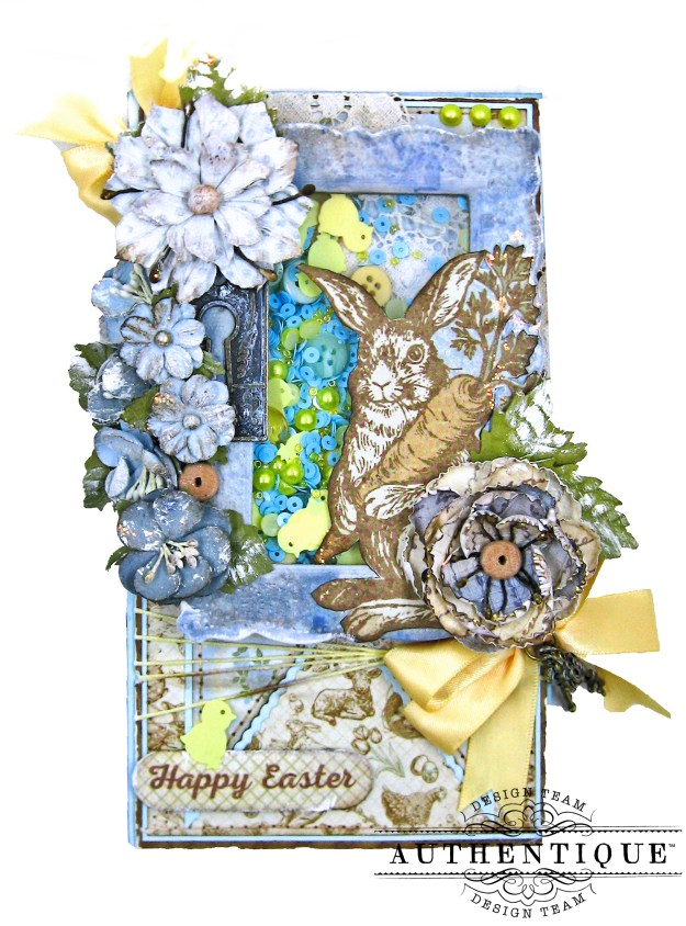 Authentique Abundant Peter Cottontail Shaker Card by Kathy Clement Kathy by Design Tim Holtz Lace Baseboard Frame Photo 03