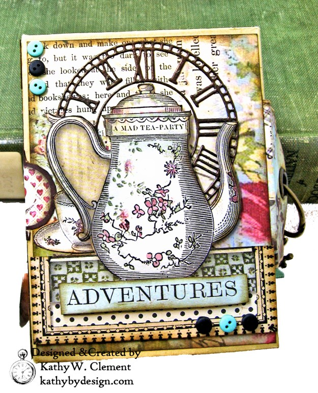 Stamperia Alice Tea Box Mini Album Tutorial by Kathy Clement Kathy by Design for The Funkie Junkie Boutique Photo 02