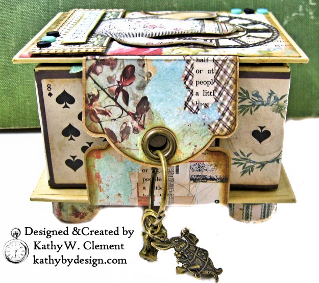 Stamperia Alice Tea Box Mini Album Tutorial by Kathy Clement Kathy by Design for The Funkie Junkie Boutique Photo 03