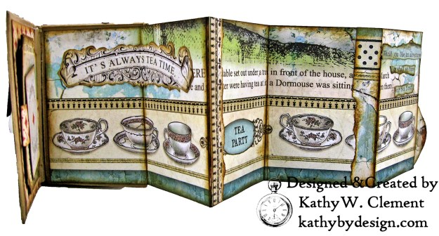 Stamperia Alice Tea Box Mini Album Tutorial by Kathy Clement Kathy by Design for The Funkie Junkie Boutique Photo 09