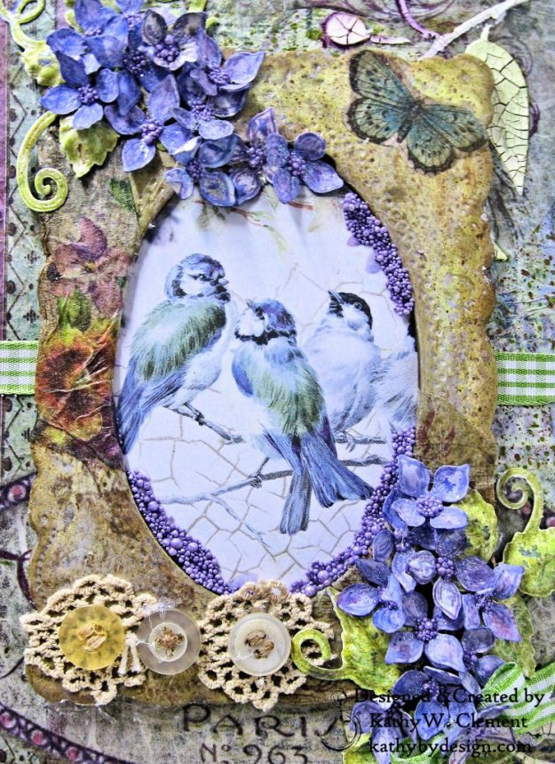 Stamperia Lilac Flower Alphabet Tissue Wrapped Journal Tim Holtz Lace Baseboard Frame Heartfelt Creations Lush Lilac by Kathy Clement for The Funkie Junkie Boutique Photo 03