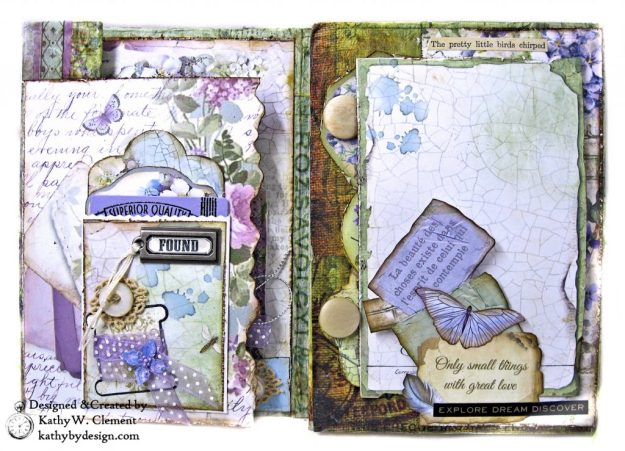 Stamperia Lilac Flower Alphabet Tissue Wrapped Journal Tim Holtz Lace Baseboard Frame Heartfelt Creations Lush Lilac by Kathy Clement for The Funkie Junkie Boutique Photo 04