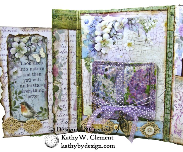 Stamperia Lilac Flower Alphabet Tissue Wrapped Journal Tim Holtz Lace Baseboard Frame Heartfelt Creations Lush Lilac by Kathy Clement for The Funkie Junkie Boutique Photo 08