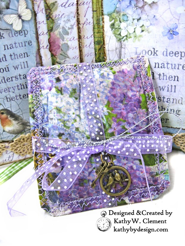 Stamperia Lilac Flower Alphabet Tissue Wrapped Journal Tim Holtz Lace Baseboard Frame Heartfelt Creations Lush Lilac by Kathy Clement for The Funkie Junkie Boutique Photo 09