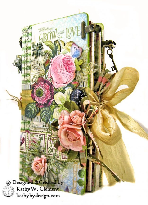 Eileen Hull Journal Graphic 45 Bloom ButterBee Scraps Altered Metal Embellishments Tutorial by Kathy Clement Kathy by Design Photo 02