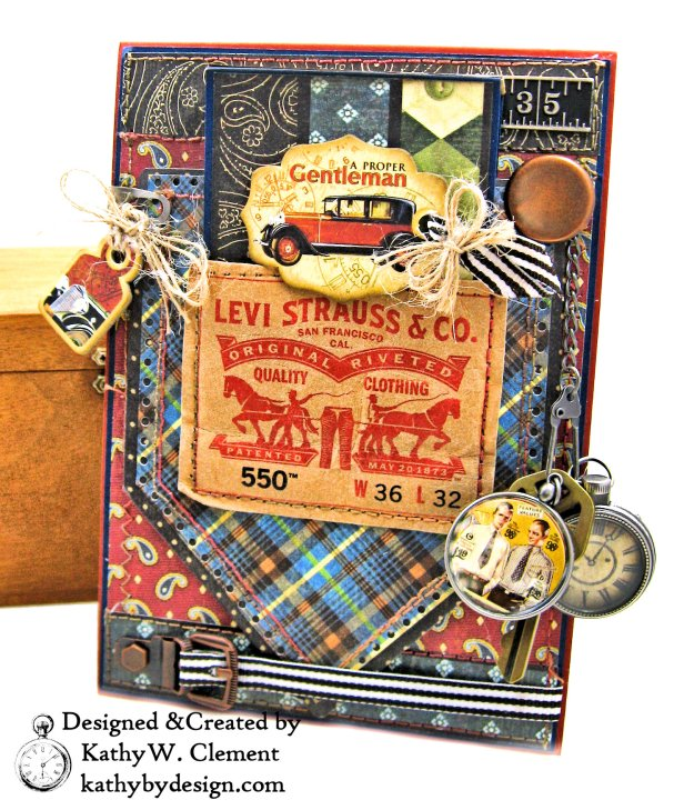 Graphic 45 Proper Gentleman Card with Eileen Hull House Pocket Stitchlets Dies by Kathy Clement kathy by design for The Funkie Junkie Boutique Photo 01
