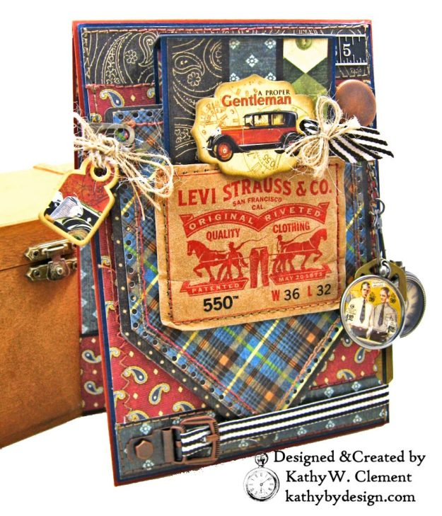Graphic 45 Proper Gentleman Card with Eileen Hull House Pocket Stitchlets Dies by Kathy Clement kathy by design for The Funkie Junkie Boutique Photo 02