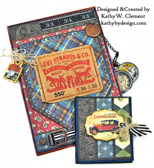 Graphic 45 Proper Gentleman Card with Eileen Hull House Pocket Stitchlets Dies by Kathy Clement kathy by design for The Funkie Junkie Boutique Photo 07