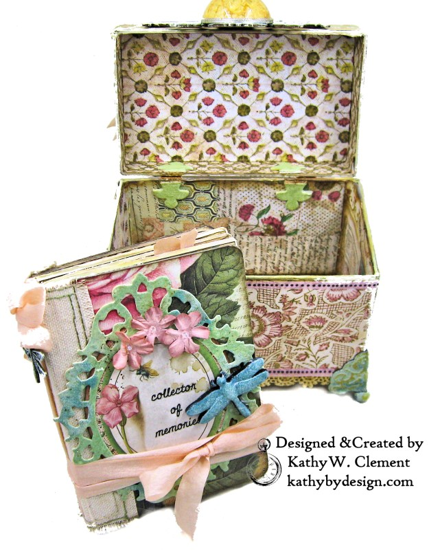 Stamperia Spring Botanic Eileen Hull Treasures Box and Notebook Tutorial Seth Apter Baked Velvet Embossing Powders by Kathy Clement Kathy by Design for The Funkie Junkie Boutique Photo 03