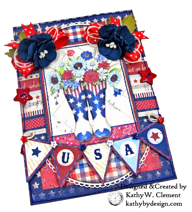 Authentique Liberty Star Spangled Cowgirl Boots Card Folio by Kathy Clement Kathy by Design for Really Reasonable Ribbon Photo 02