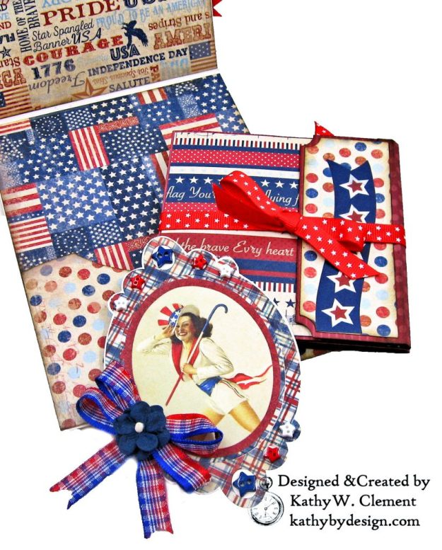 Authentique Liberty Star Spangled Cowgirl Boots Card Folio by Kathy Clement Kathy by Design for Really Reasonable Ribbon Photo 04