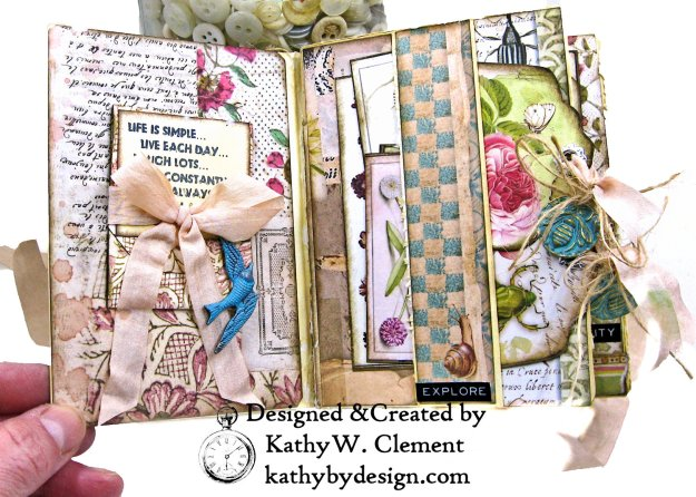 Stamperia Spring Botanic Eileen Hull Notebook Video Tutorial by Kathy Clement Kathy by Design for The Funkie Junkie Boutique Photo 03