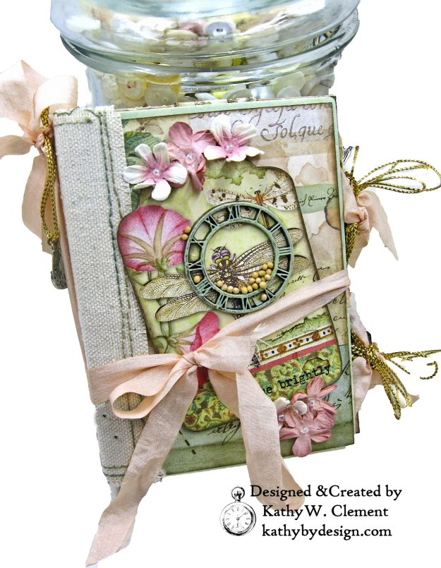 Eileen Hull Notebook Die Stamperia Spring Botanic Mini Album by Kathy Clement Kathy by Design for The Funkie Junkie Boutique Photo 01