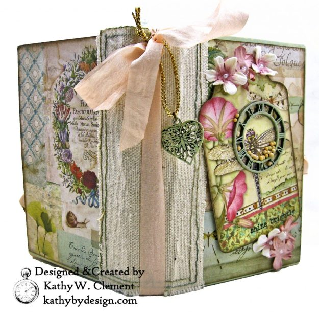 Eileen Hull Notebook Die Stamperia Spring Botanic Mini Album by Kathy Clement Kathy by Design for The Funkie Junkie Boutique Photo 02